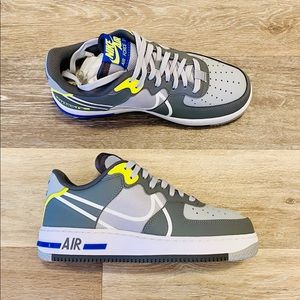 Nike Air Force 1 AF1 React Wolf Grey Volt Blue